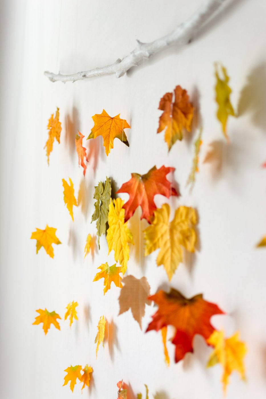 DIY fall decor - leaves on a branch - sweet teal