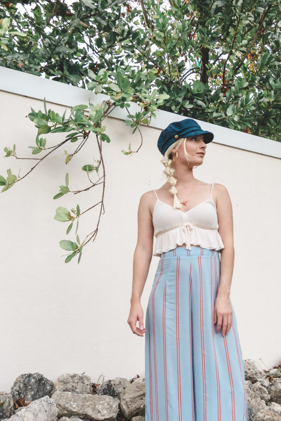 Fisherman Cap and Wide Leg Pants worn by Jenny Bess