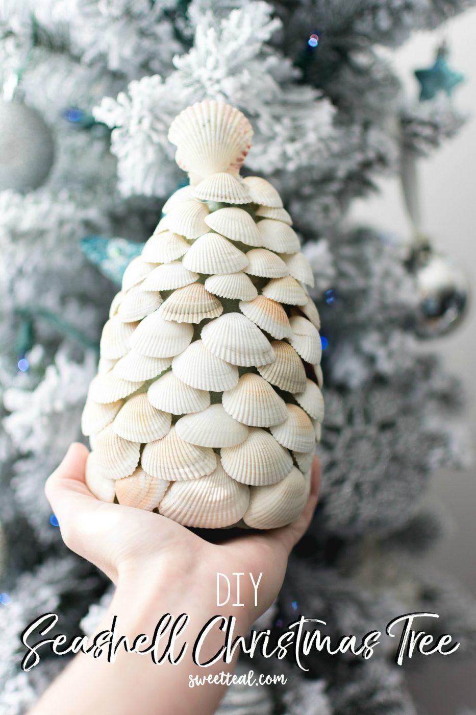 diy seashell christmas tree by Jenny - sweet teal