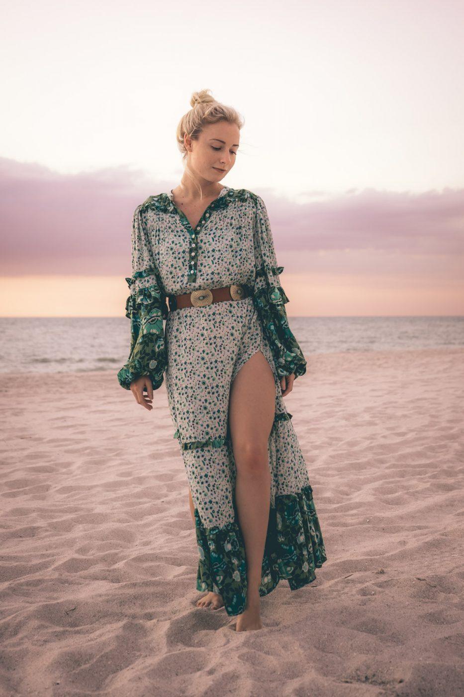 Jenny Bess wearing Spell & The Gypsy Winona Boho Maxi Dress in Ivy - Sweet Teal