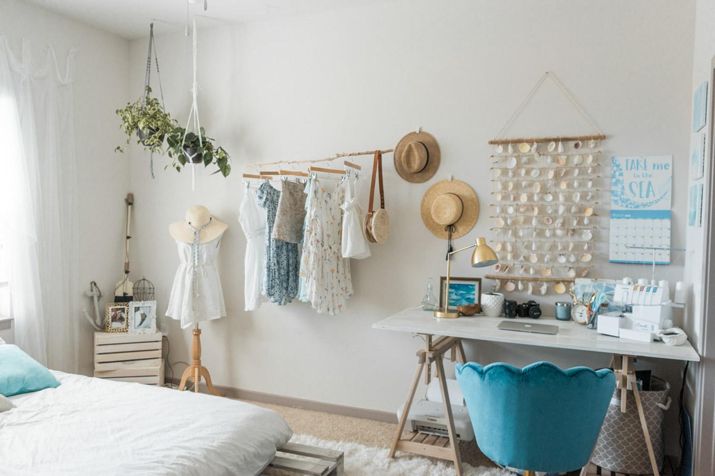 Beachy Boho Bedroom & Office - Sweet Teal-5