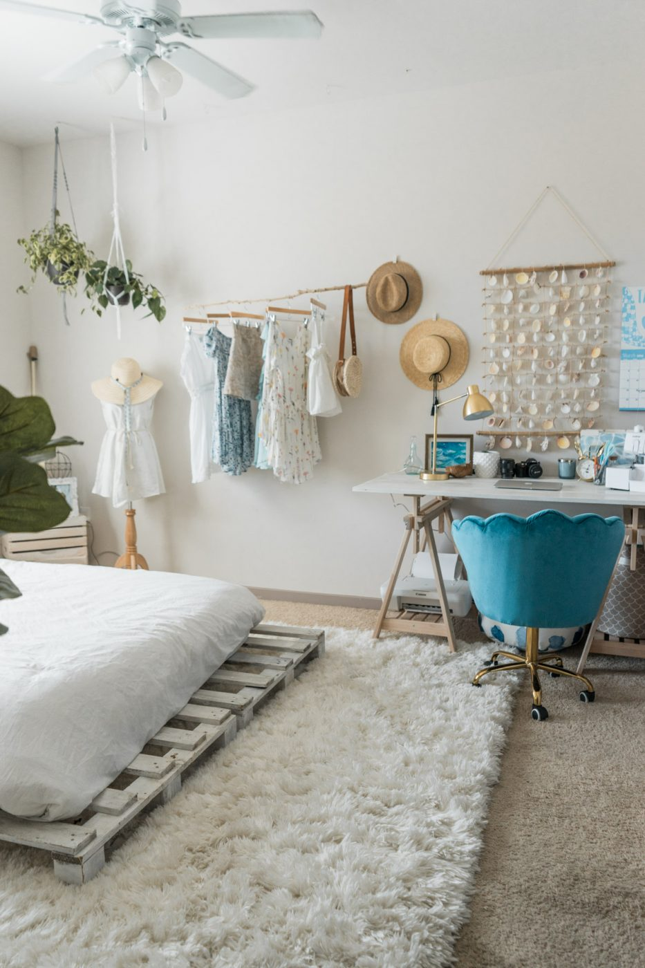Beachy Boho Bedroom Office