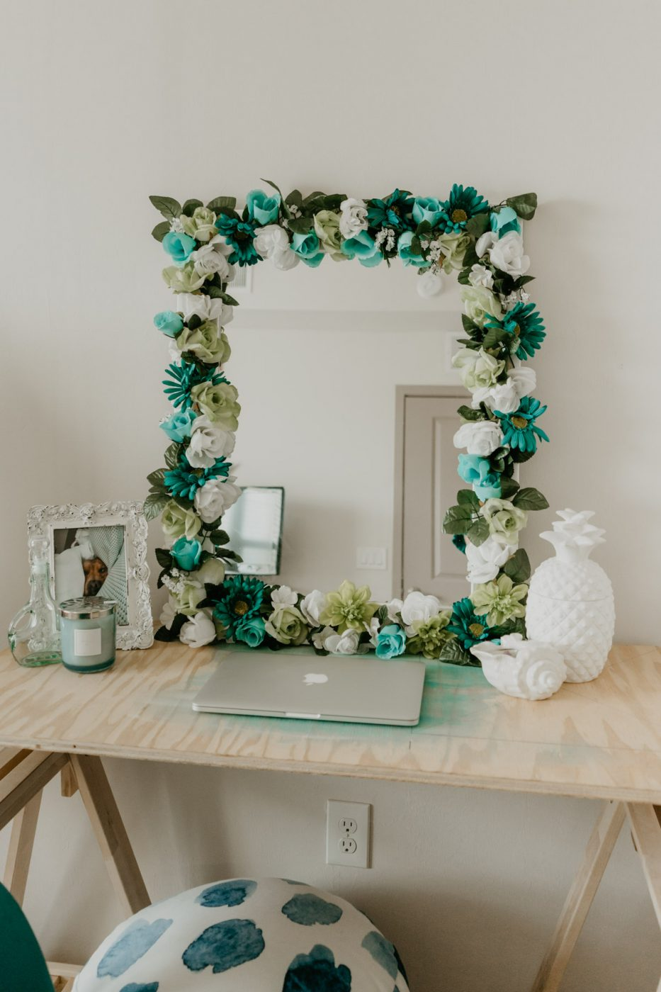 DIY Flower Framed Mirror - Sweet Teal