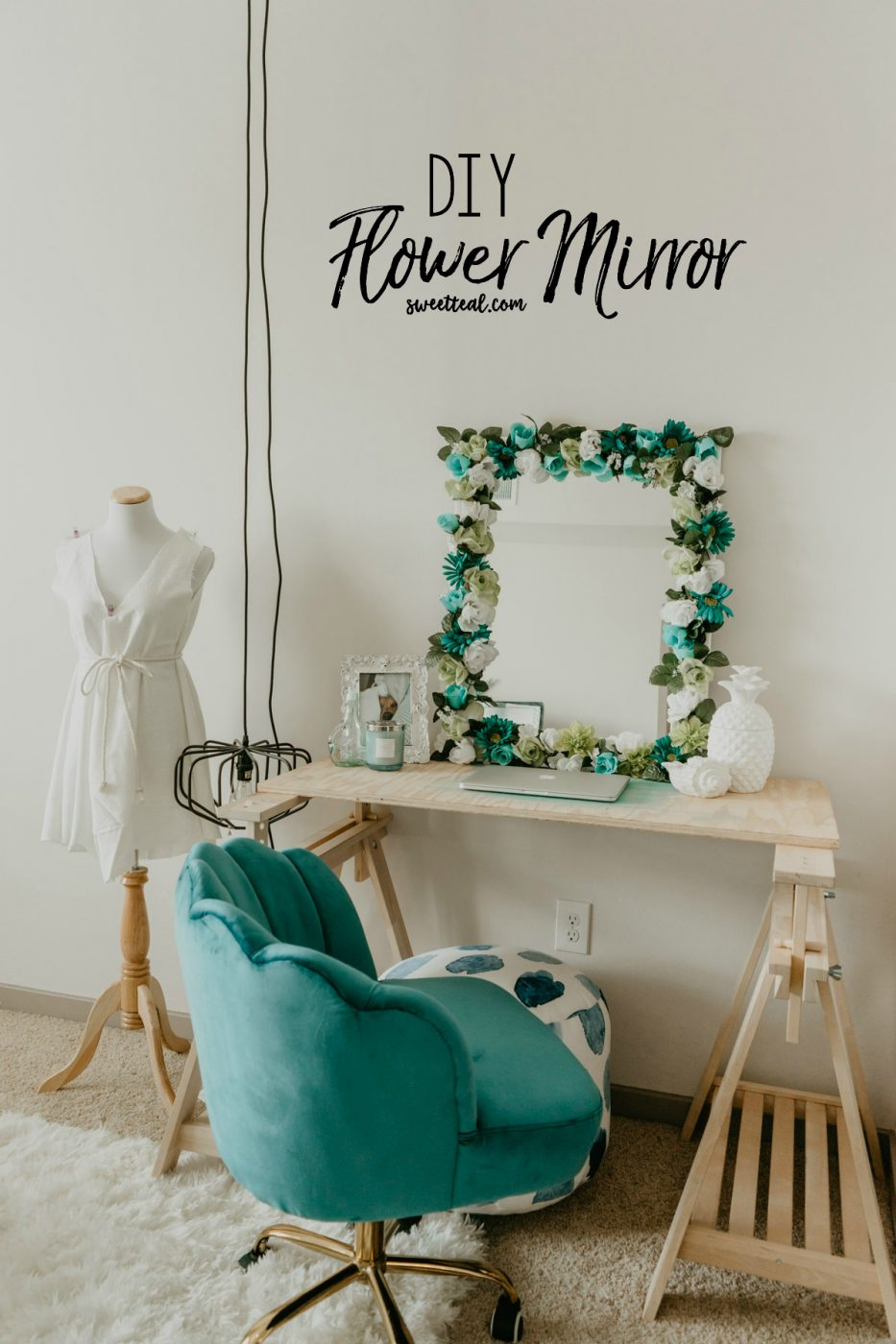 DIY Flower Mirror - Sweet Teal
