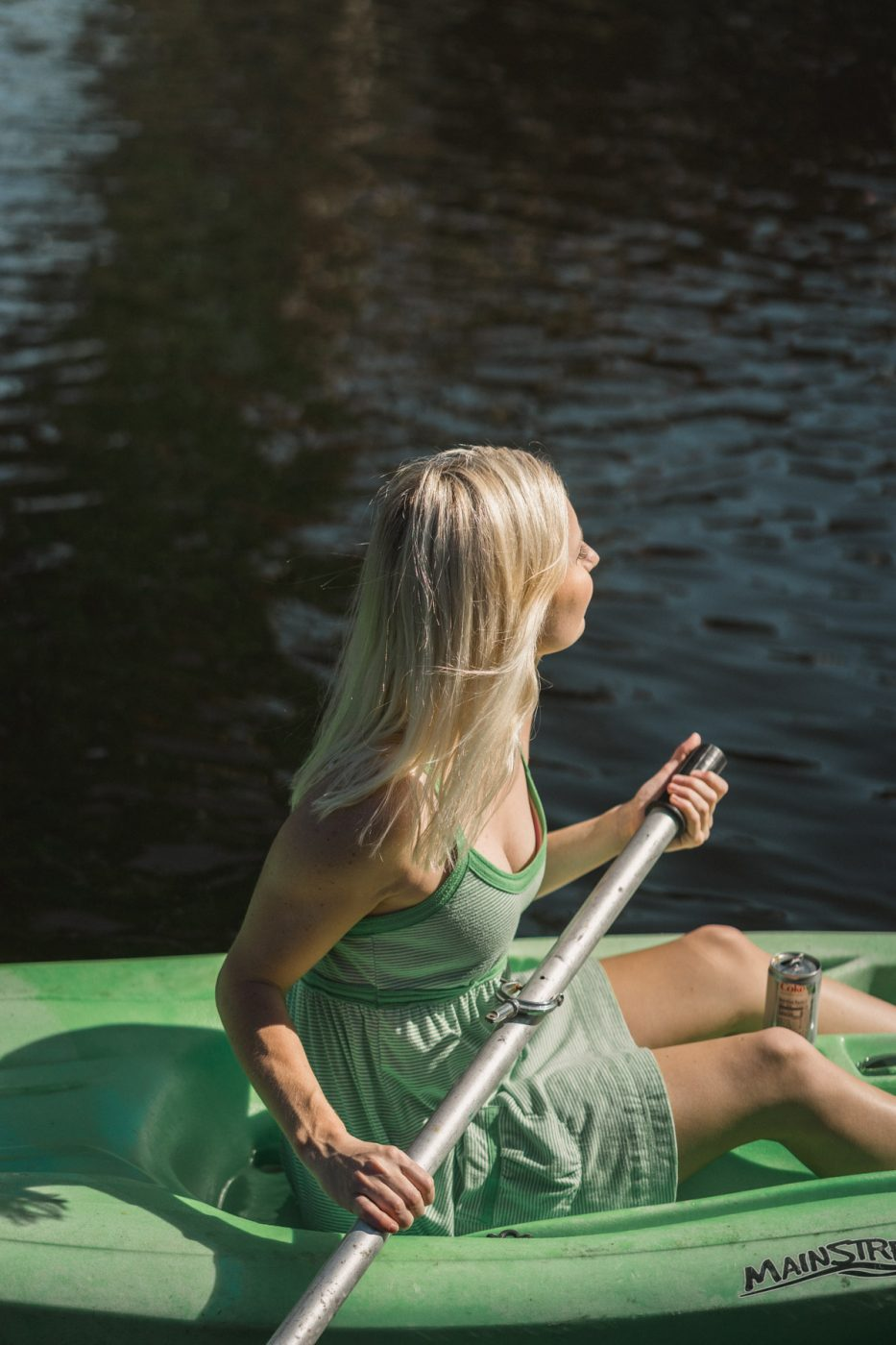 Jenny Kayaking with Lime Diet Coke
