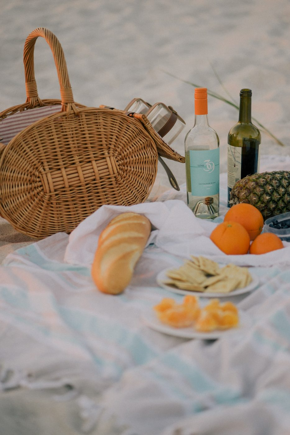 Beach Picnic with Line 39 Wine by Sweet Teal