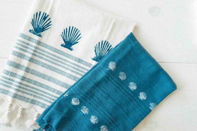 DIY Seashell Stamped Towels - Sweet Teal