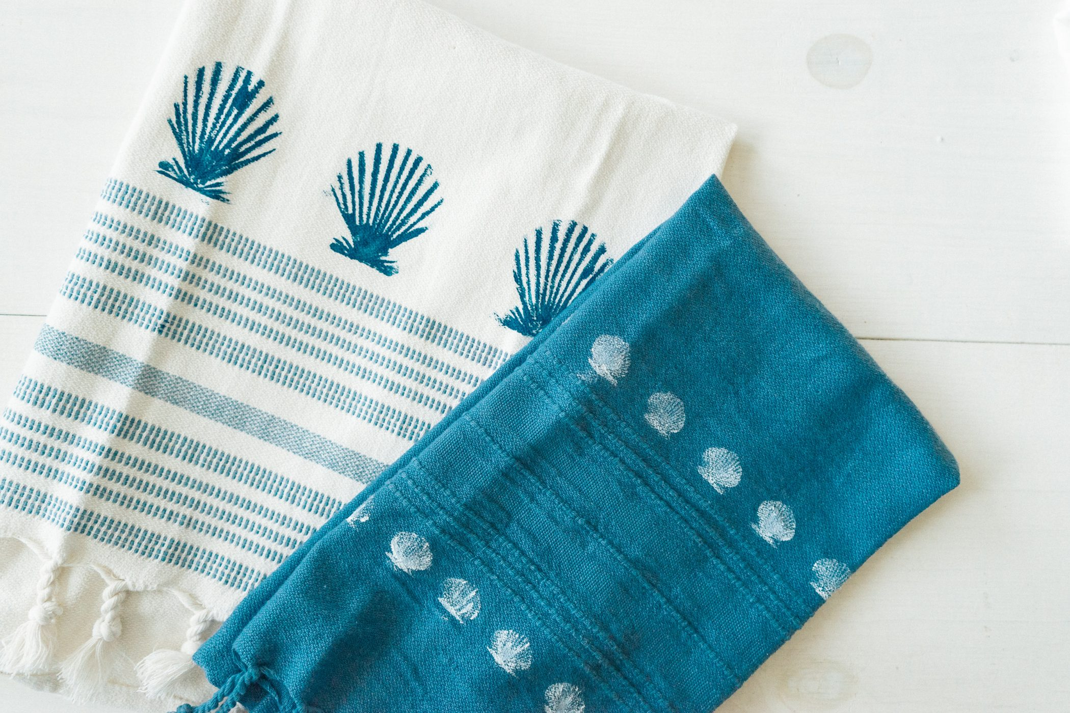 Diy Seashell Stamped Towels  Sweet Teal