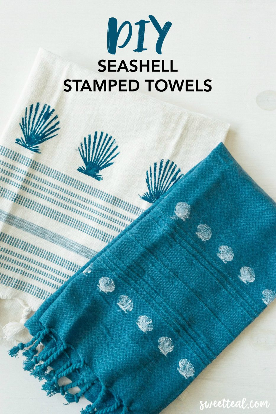 DIY Seashell Stamped Towels by Sweet Teal
