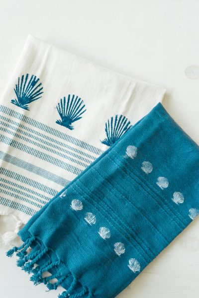DIY Seashell Stamped Towels