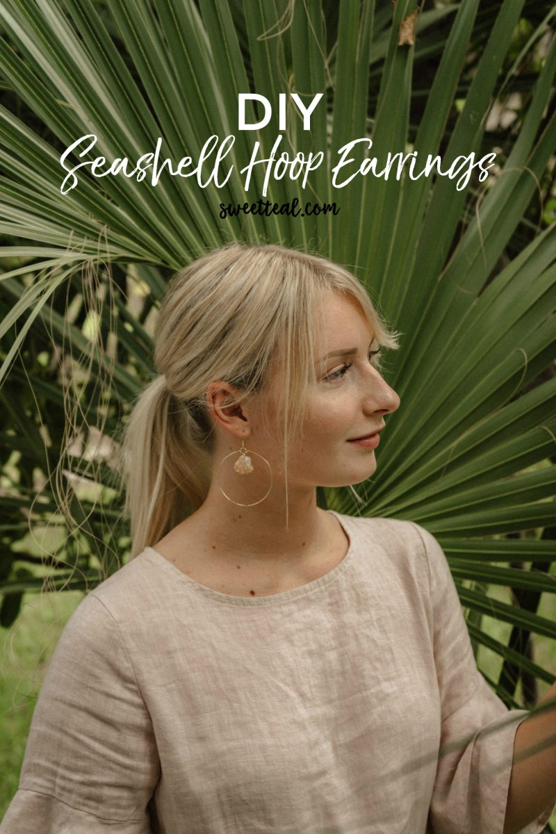 DIY Seashell Hoop Earrings by Jenny at Sweet Teal