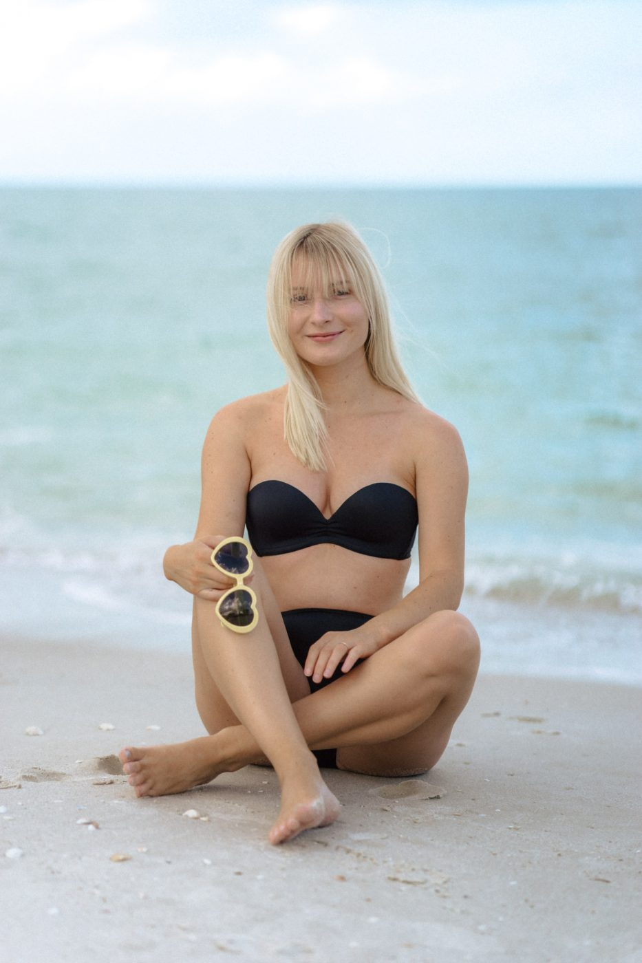 Jenny wearing an Upbra swimsuit - Sweet Teal