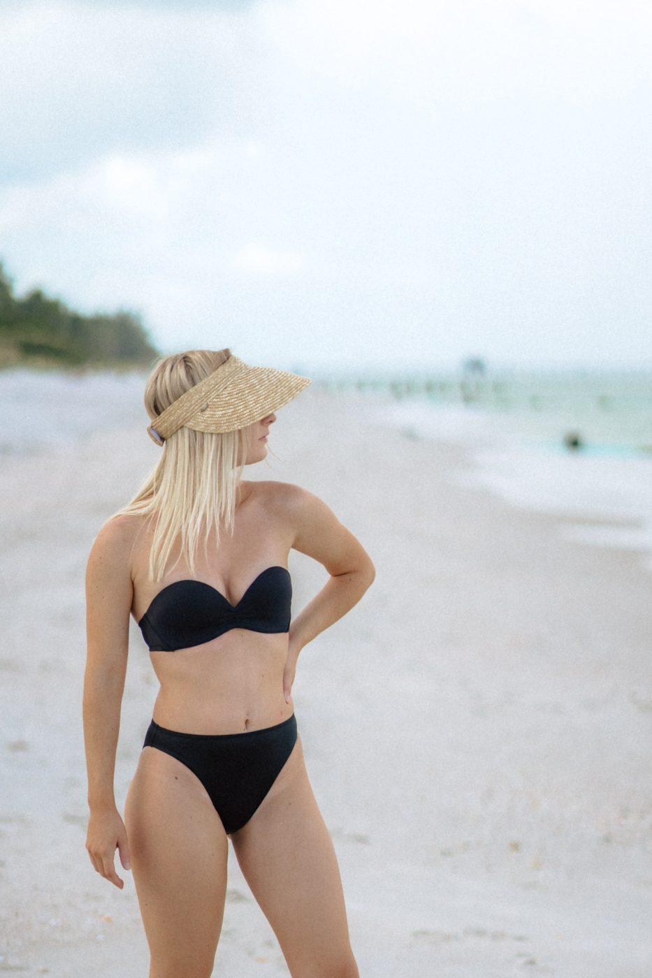 Jenny Bess wearing Upbra push up swimsuit in black