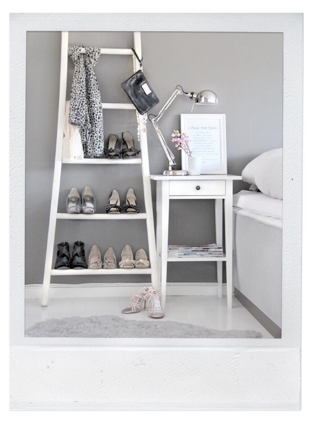 Shoe Storage - Repurpose a Ladder
