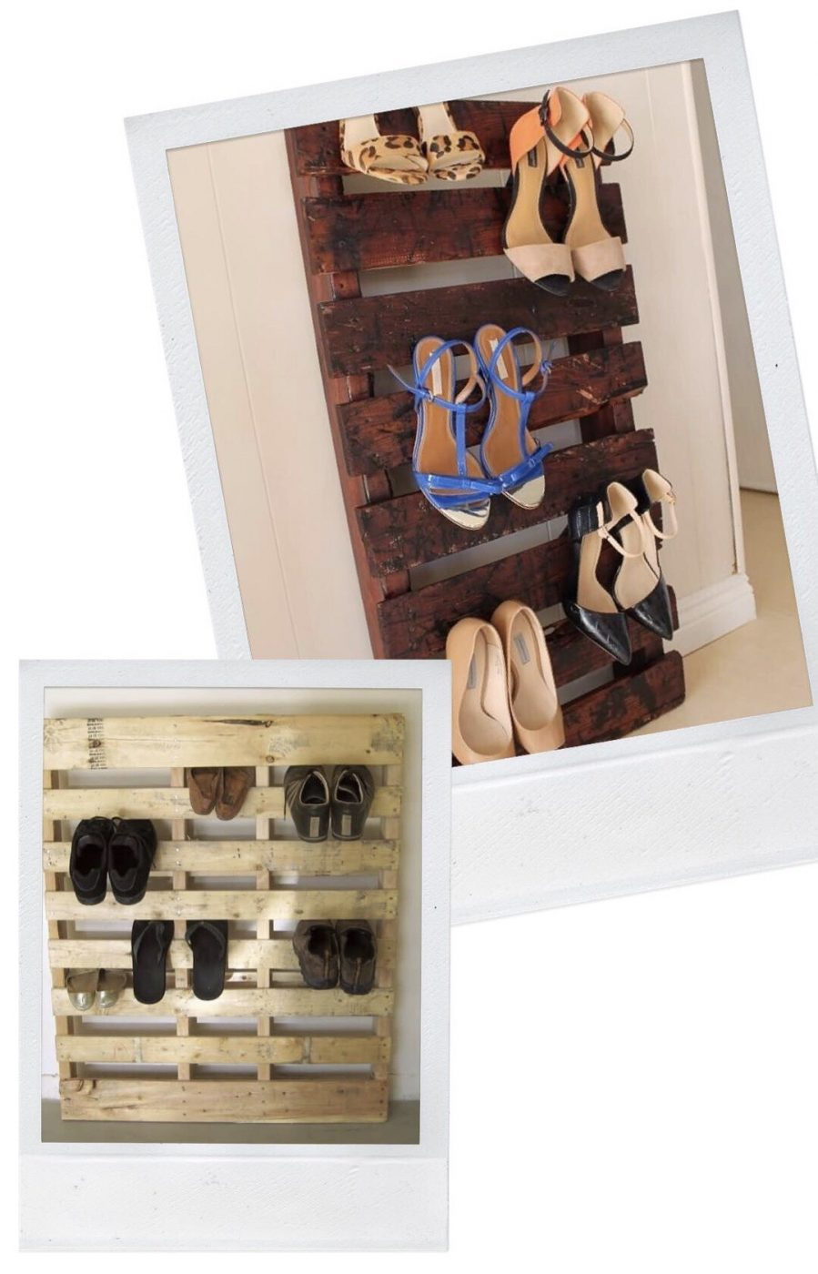 Shoe Storage - Use a pallet