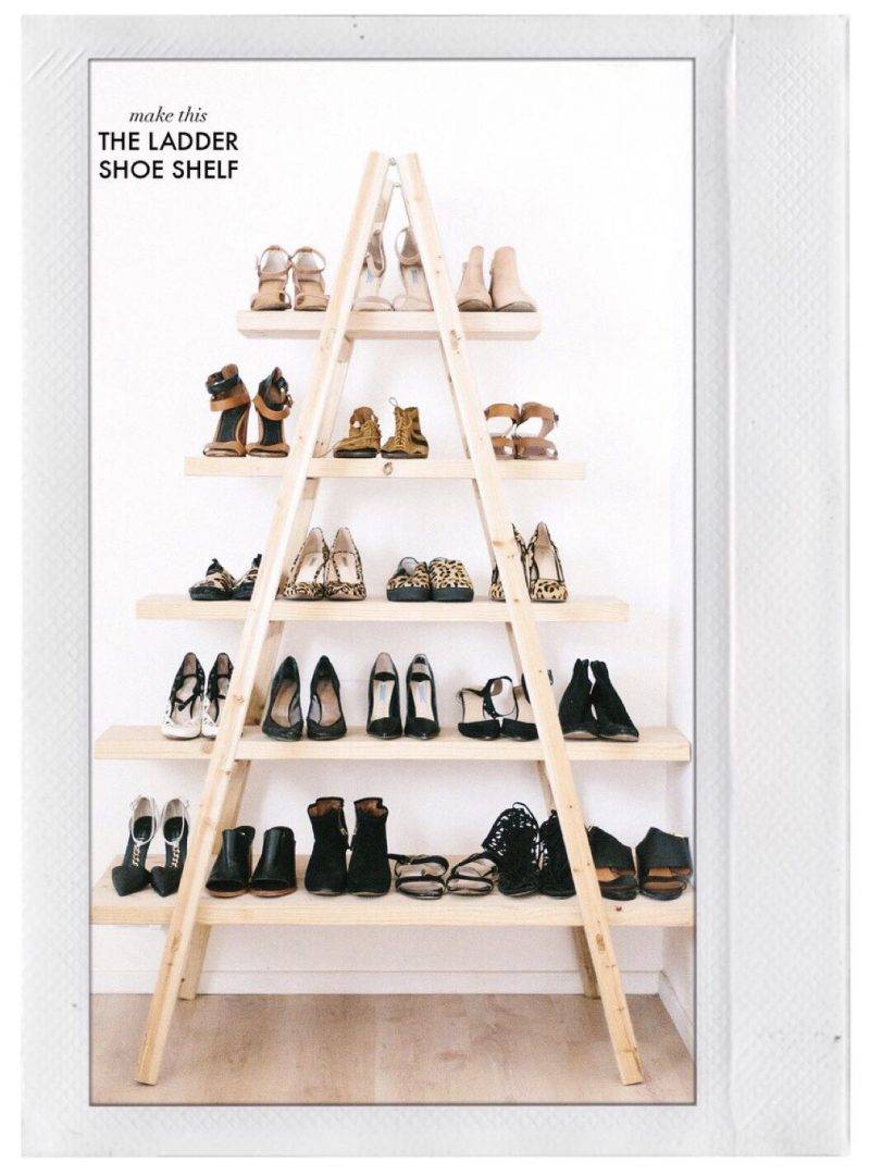 Shoe Storage - DIY Shoe Ladder Shelf