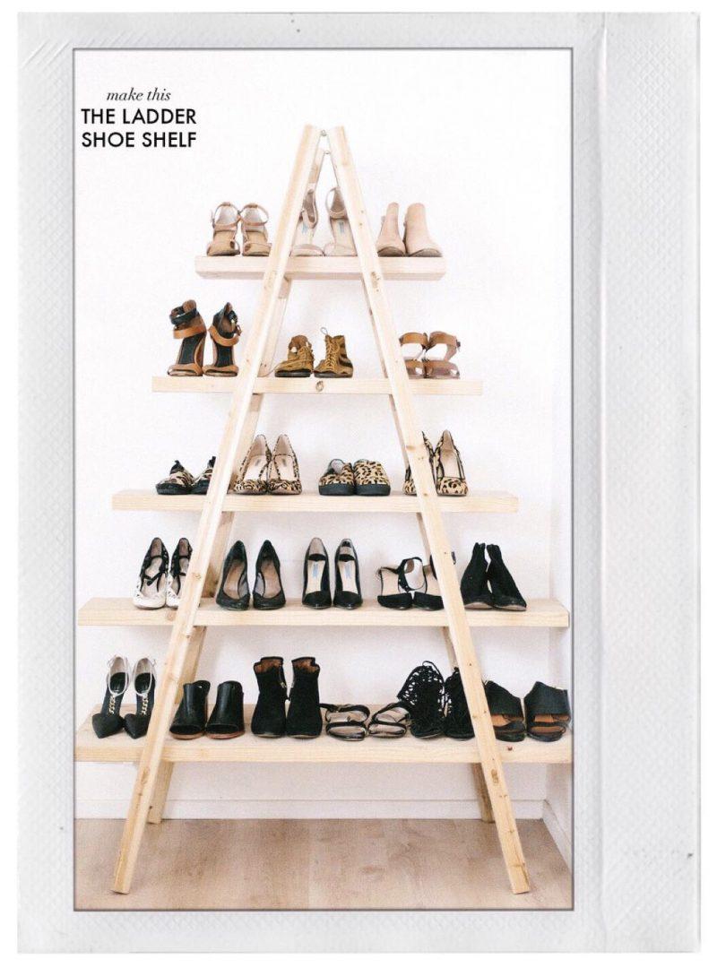 Shoe Storage - DIY Shoe Ladder Shelf