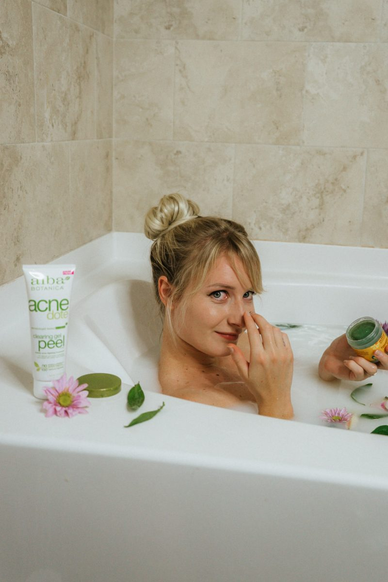 Jenny taking a milk bath and using alba botanica mask