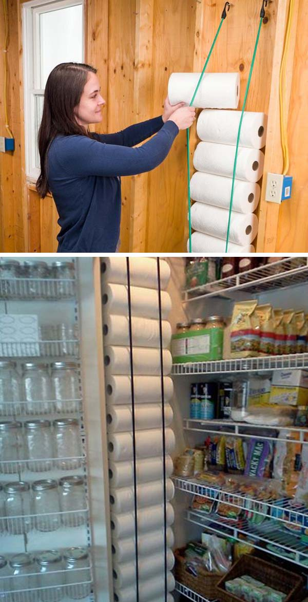 Pantry Organization - Paper Towel Bungee Cord Holder
