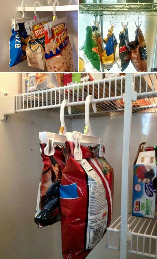 Pantry Organization - Pants Hanger For Chips