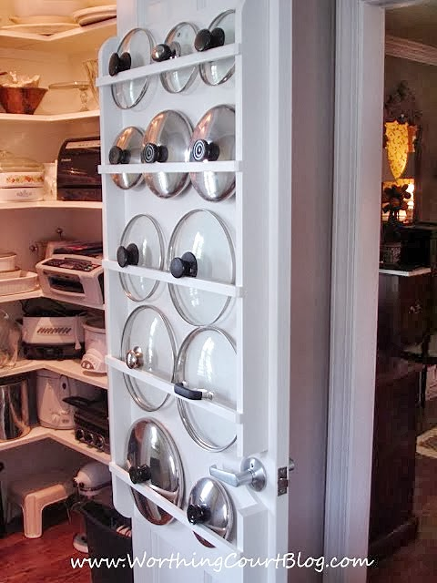 Pantry Organization - Pot and pan lids behind pantry door