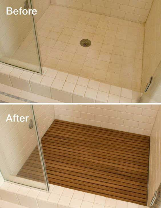 Add teak to shower floor - Make Your Home Look Like A Million Bucks