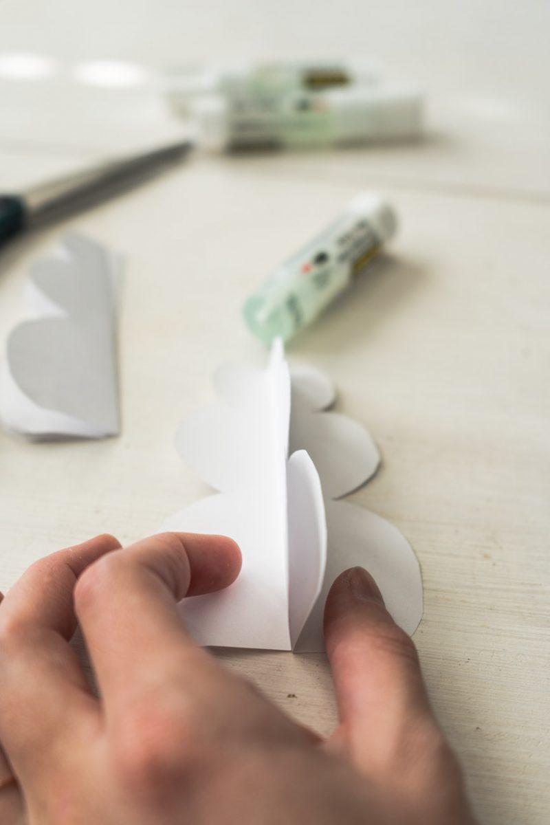 Gluing DIY pop up snowman card