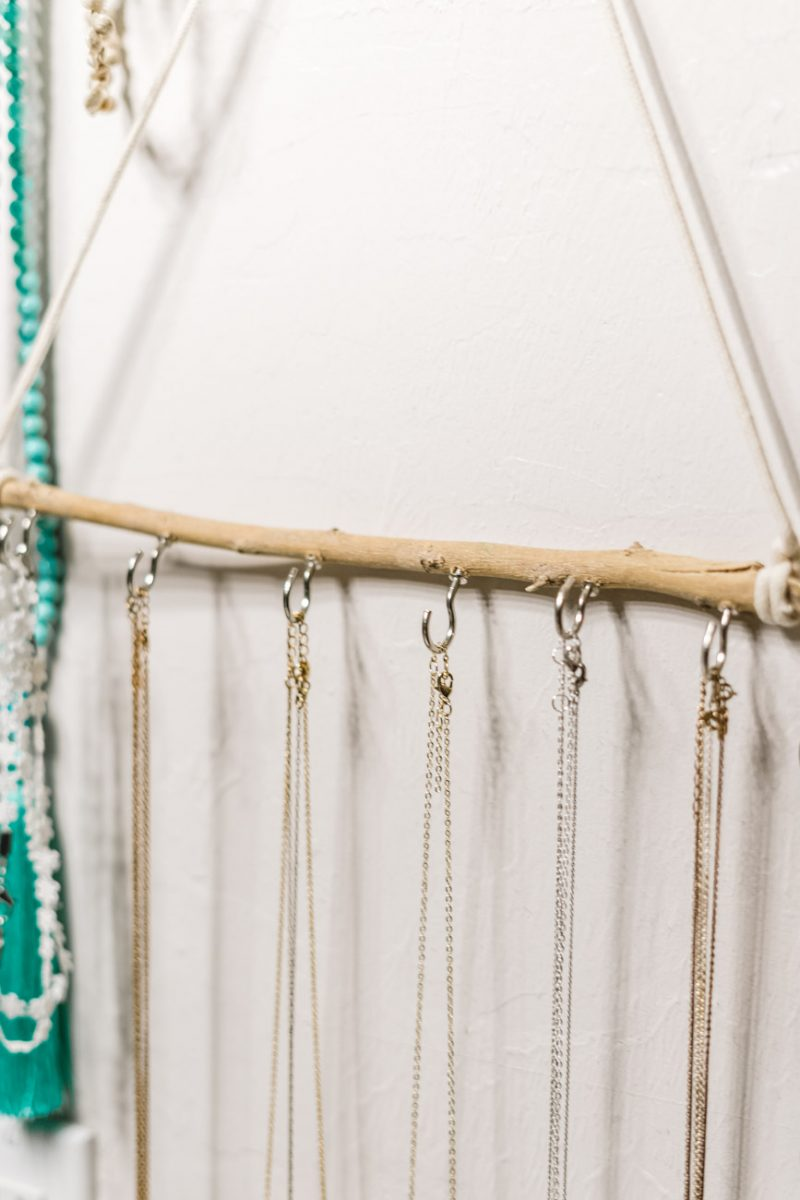 DIY jewelry holder close up