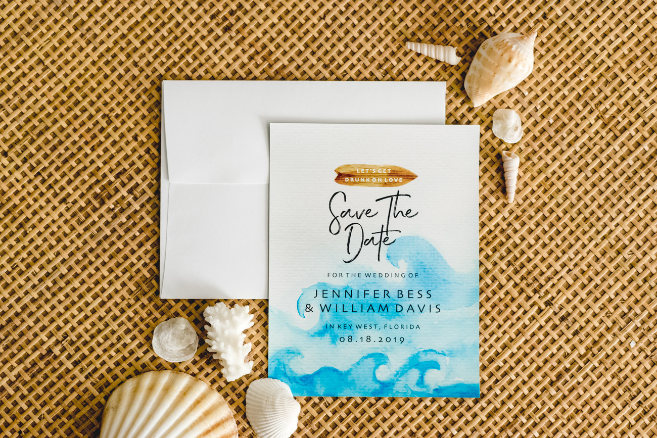 Tropical Save The Date Beach Wedding - Sweet Teal by Jenny Bess
