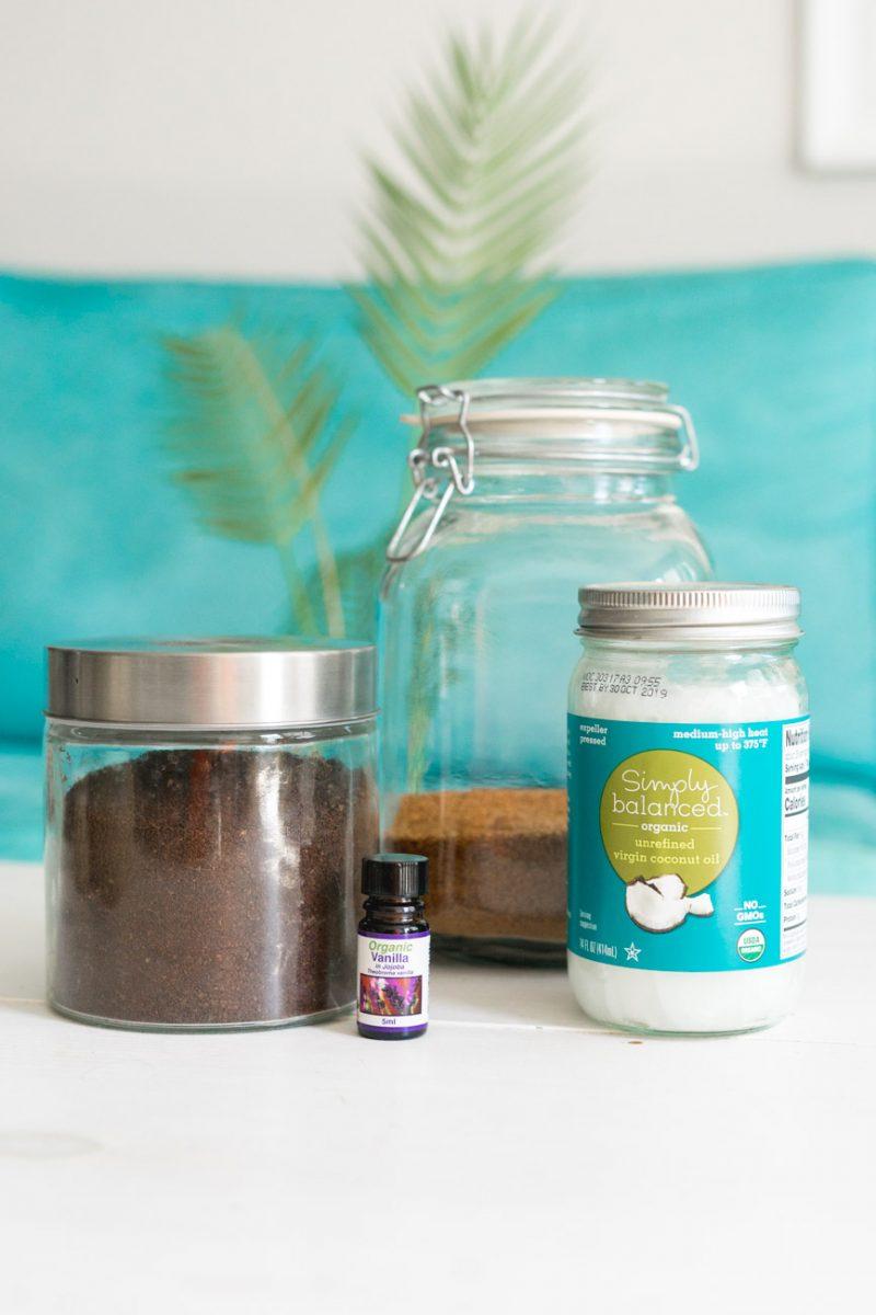 Supplies for DIY Coconut Coffee Scrub