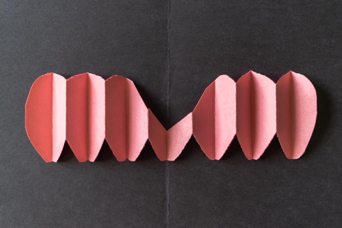 Step 1 in making DIY Pop-Up Valentine's Day Card