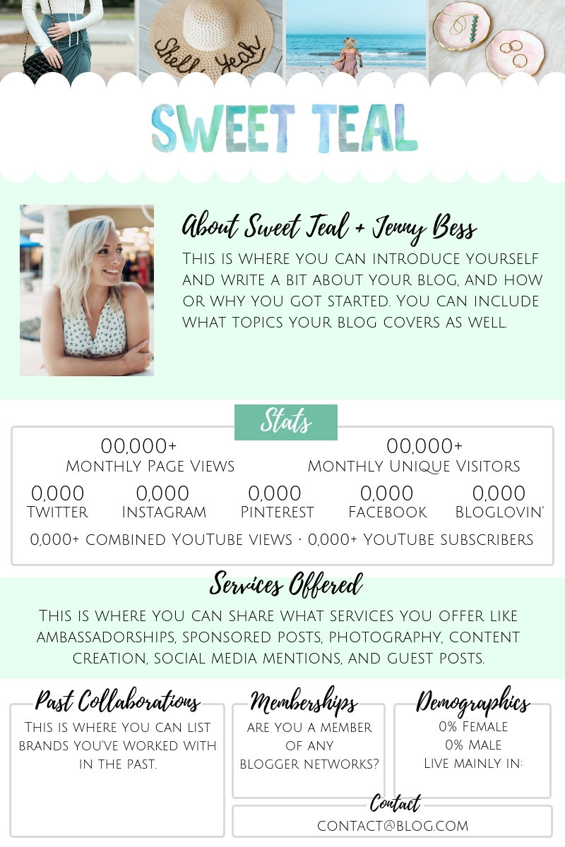 Media Kit Template by Jenny Bess of Sweet Teal