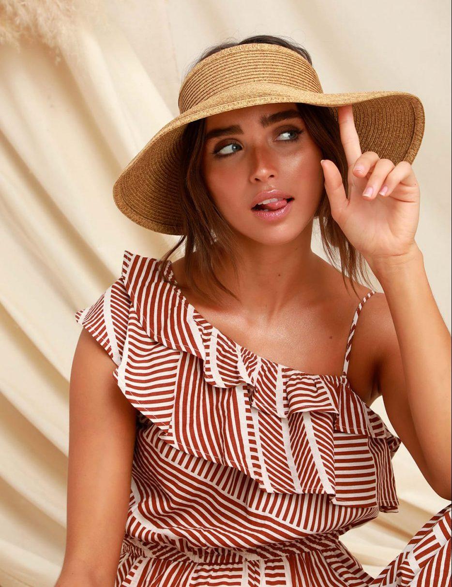 San Diego Hat Co. Shade Stunner Beige Straw Visor - Sumer Hat Guide